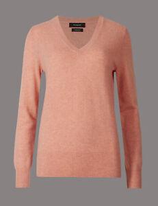 Maglione s cashmere a rosa Taglia 10 con M V scollo Bnwt in rn1rAqZH4