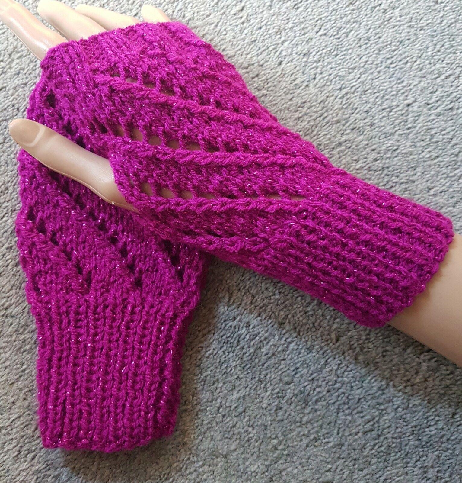 Hand Knitted Lace Effect Fingerless Gloves/Wrist Warmers: Pink & Glitter Thread