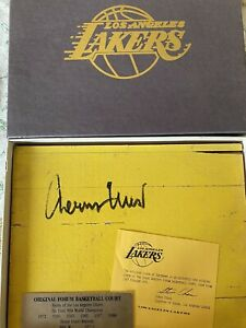Jerry West Hand Signed Fabulous Forum 8x10 Piece Game Used Floor
