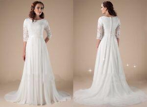 Image Is Loading Vintage Modest Lace Wedding Dress 3 4 Sleeves