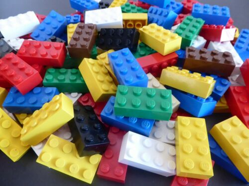 LEGO 100 BASIC STEINE 2 x 4 hoch Bausteine Grundbausteine bunt 3001 Kg Konvolut
