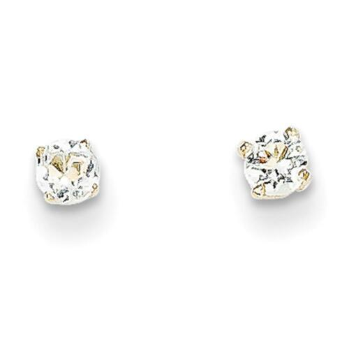 14k Yellow Gold Round Genuine 3mm April White Topaz Birthstone Post Earrings