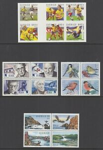 Sweden-Sc-2482-2492-2498-2503-MNH-2004-05-Booklet-panes-4-different-VF