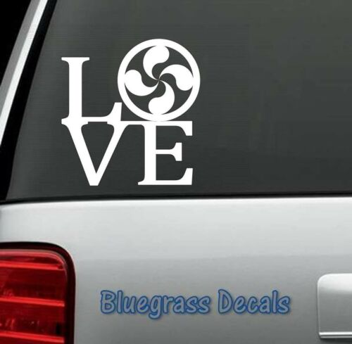 C1035 Lauburu Love Decal Sticker Basque Symbol Spanish Northern Spain SW France