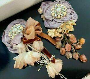 Vintage-Flower-Corsage-Pin-Embellishment-Silk-Satin-1-Piece-Made-in-Japan