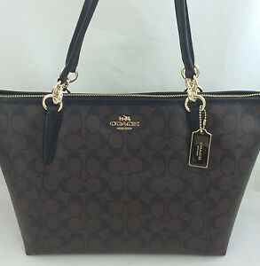 New-Authentic-COACH-F58318-AVA-Signature-Tote-Handbag-Purse-Shoulder-Bag-Brown