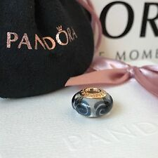 Genuine PANDORA 14ct Gold / Black Spirals Murano Charm Bead RETIRED NEW 750511