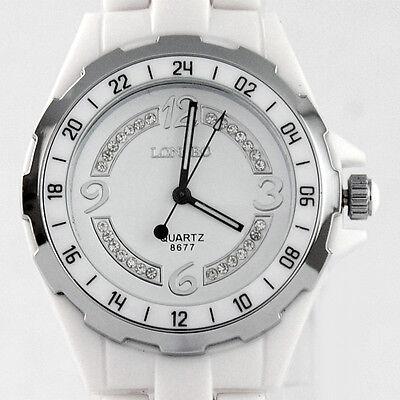 Bling Diamonds Womens Lady Casual Wrist Watch Quartz White Ceramic Band BIG SIZE