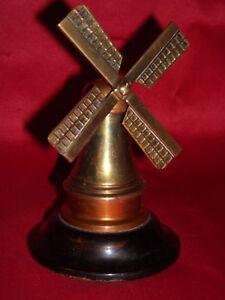 Moulin-a-vent-Cuivre-amp-en-laiton-base-en-bois-art-deco-12cm