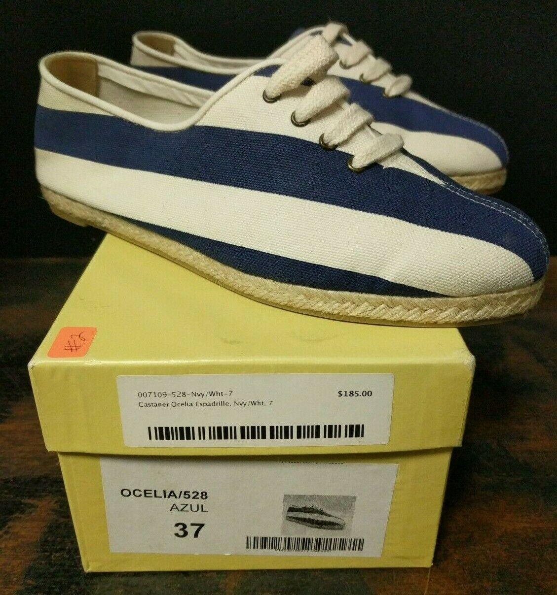 Brand New W Box Castañer Navy bianca Stripe Wouomo Flat scarpe scarpe da ginnastica Sz 7