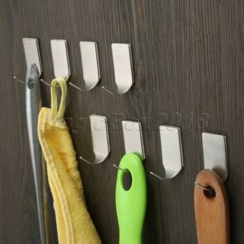 Self-Adhesive Bedroom Bathroom Stainless Steel Sticky Hooks Kitchen Wall Hanger