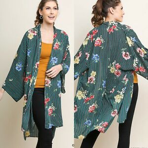 New Umgee Womans Sz M/L Boho Kimono Cover Up Top Duster Stripes Floral Green NWT