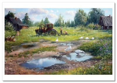 KOLKHOZ Tractor Peasant Ducks Village Russian Ethnic by Zhdanov Modern Postcard