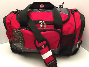 Image Is Loading Swiss Gear Large Duffle Bag Red Grey Black