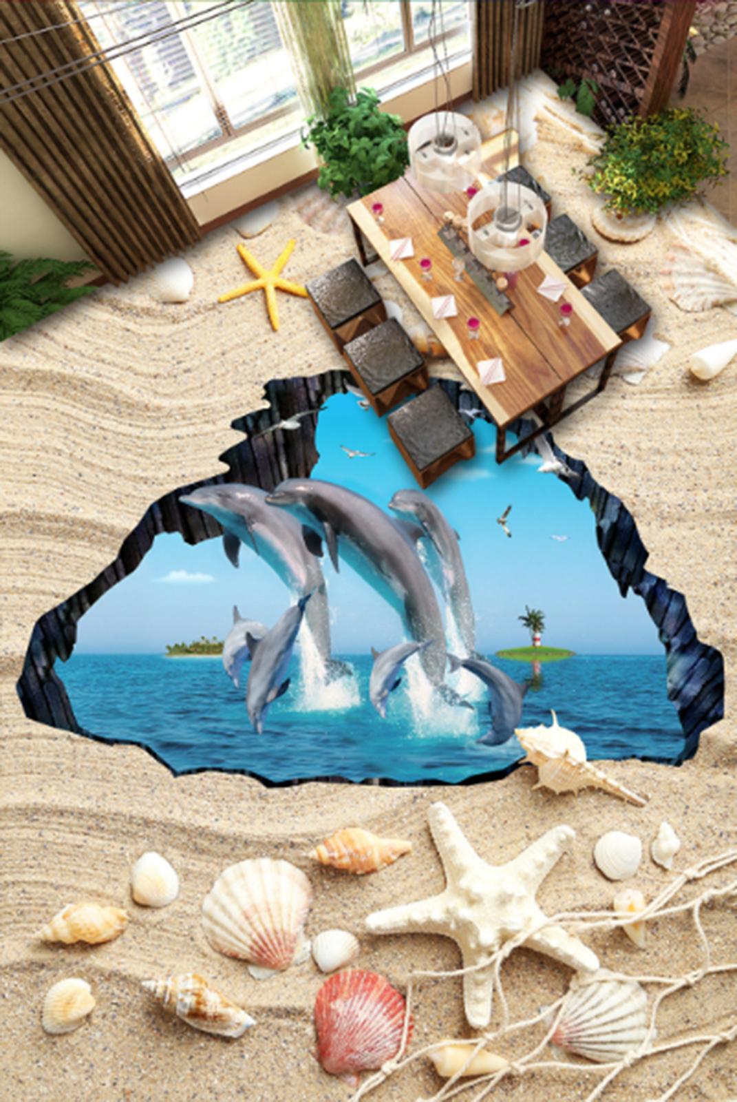 3D Starfish Delphine 813 Fototapeten Wandbild Fototapete Tapete Familie DE Lemon