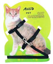 Black Adjustable Nylon Pet Cat Harness and Leash ~ Kitten Belt Collar with lead
