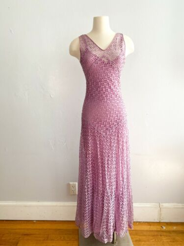 1930s Vintage Lilac Purple Eyelet Lace Long Gown