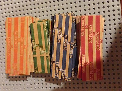 400 New Quarters-Dimes-Nickels /& Pennys Pop-Open Flat Paper Coin Wrappers Tubes