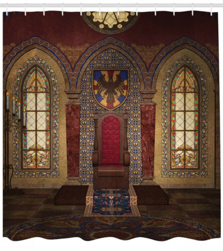 Gothic Shower Curtain Medieval Palace Throne Print for Bathroom