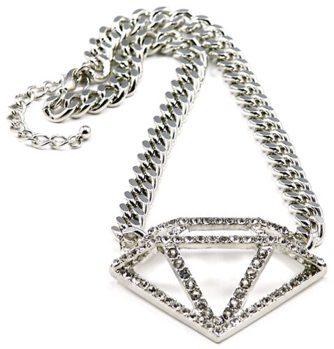 Diamond Necklace New Iced Out Pendant With 16.5 Inch Cuban Link 10mm Chain