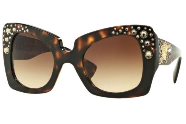 62e6967f3f443 VERSACE VE 4308-B Oversized Square Women Sunglasses Gold Crystals Tortoise  Brown