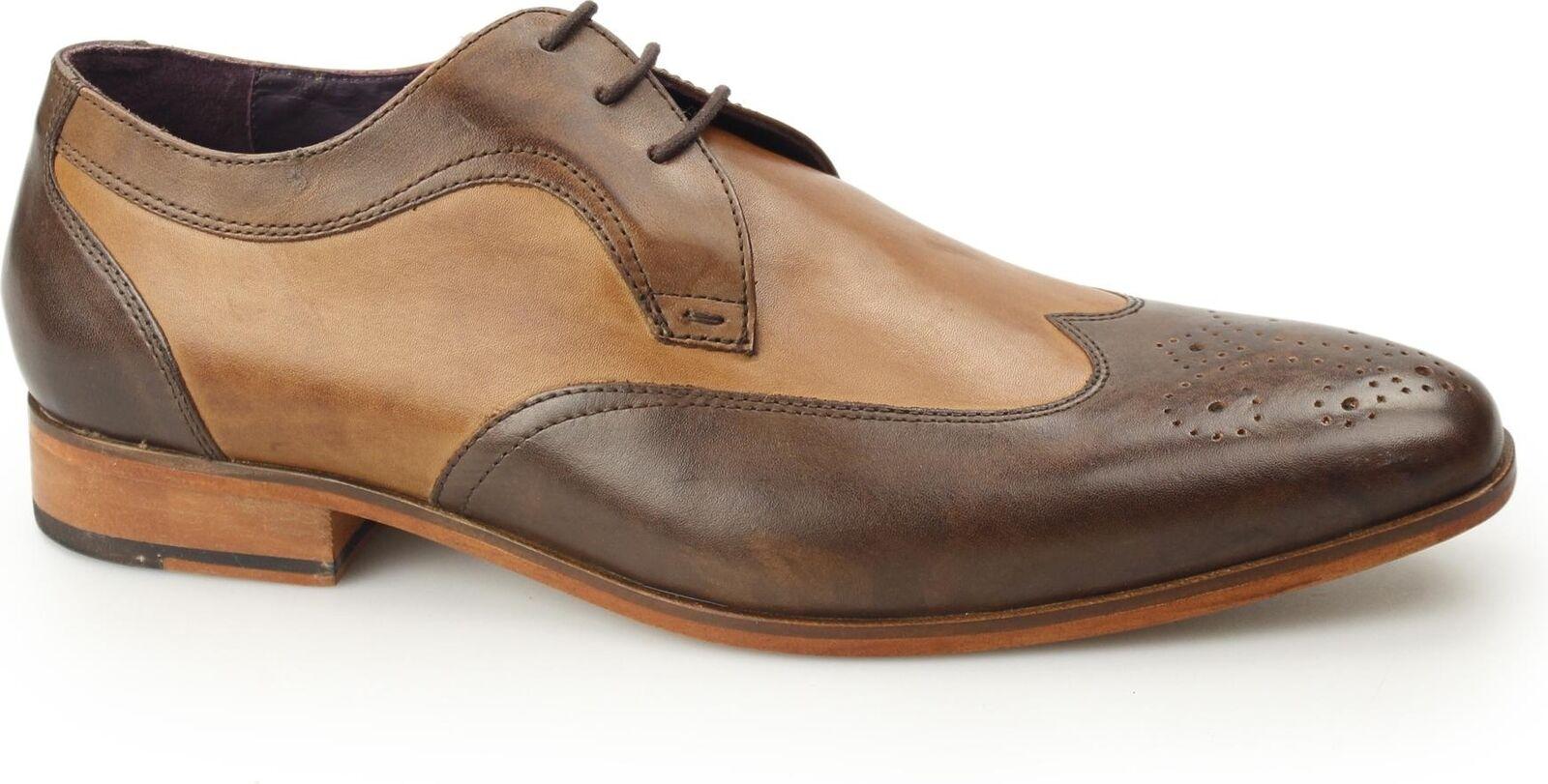 Gucinari MILLE Mens Leather Formal Wingtip Contrast Derby Brogues Brogues Brogues braun & Tan f7cca6