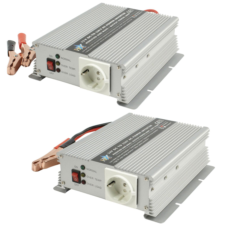 600 Watt Wechselrichter 12V 24V 230V Spannungswandler 600W Autobatterie, Bus