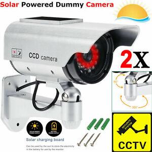 2X-Solar-Power-Dummy-Surveillance-Fake-CCTV-Security-Camera-LED-Record-Light-UK