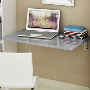 Details About Simple Gray Wall Mount Floating Folding Computer Desk Home Office Pc Table
