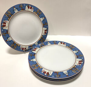 Sakura-Stoneware-Snowman-Debbie-Mumm-Christmas-Winter-Snow-Dinner-Plates-Set-4