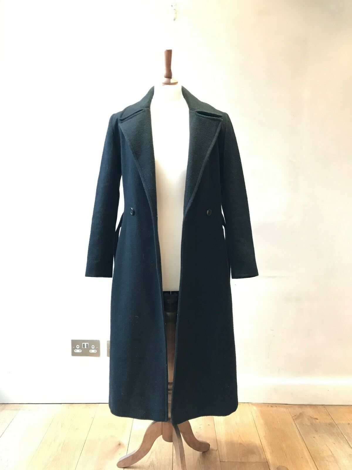 Long, black, wool, trench coat with belt, Marvin Browne, womens size 8