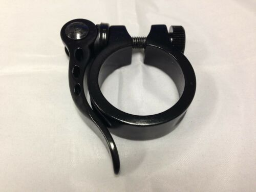 """New Alloy Bike Bicycle Seat Clamp 1-3//8/"""" 34.9mm w//Quick Relesae Skewer Black"""
