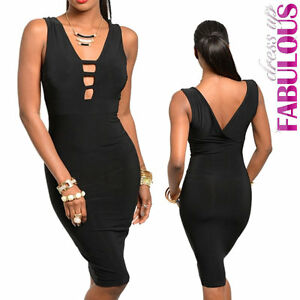 Sexy-Womens-Low-Cut-Midi-Dress-Size-8-10-Hot-Fitted-Party-Clubbing-Evening-S-M