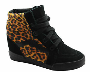 6c0925d61e Vans Off The Wall SK8 Hi Wedge Black Leopard Womens Lace Up Trainers ...