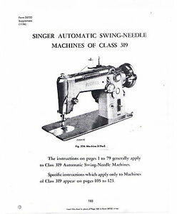 Singer Sewing Machine Class 319 Adjusters Service Repair ...