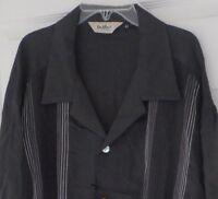 Davinci-charcoal Gambino + Embroidered Stripes-camp Collar-made Usa Xxxxxl