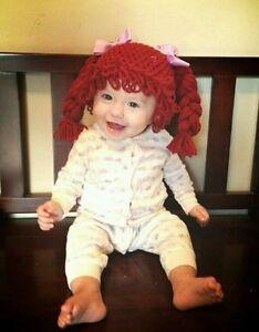 Cabbage Patch Kid Crochet Hat Wig DK RED Pigtail Braids Infant ... 656c34d23410