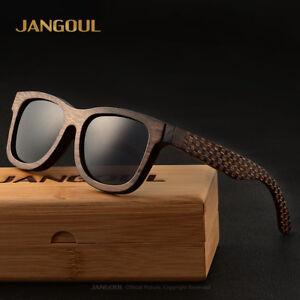 7930eada044 Image is loading Men-Handmade-Carbonized-bamboo-Sunglasses-UV400-Polarized- Mirrored-