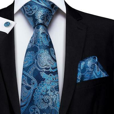 Silk Woven Mens Tie Set Blue Jacquard Paisley Necktie Hanky Cufflinks Wedding