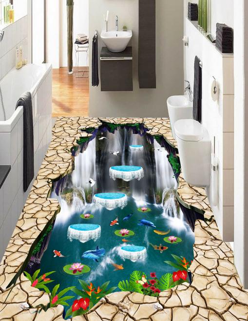 3D Waterfall River 6038 Floor WallPaper Murals Wallpaper Mural Print AJ AU Lemon