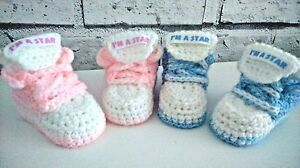 BABY CROCHET SHOES YOURS BABY/'S NAME TRAINERS HANDMADE SNEAKERS