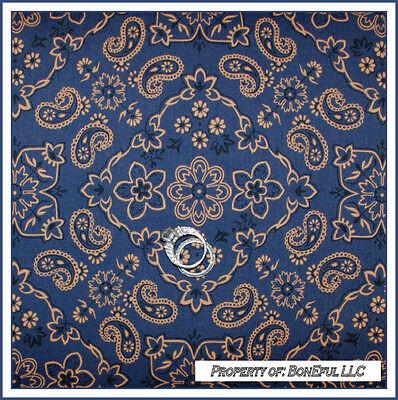 BonEful Fabric FQ Cotton Quilt Blue Tan VTG Cow*Boy Girl Band*ana Paisley Flower