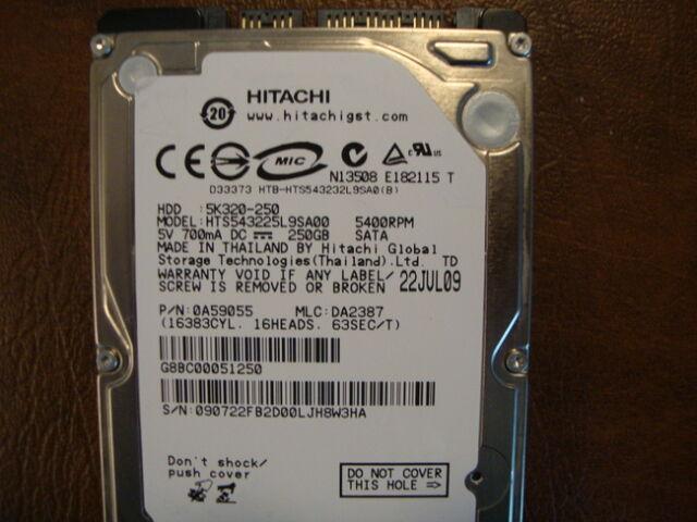 """Hitachi HTS543225L9SA00 MLC:DA2387 PN:0A59055 250gb 2.5"""" Sata Hard Drive"""