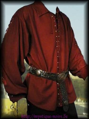 Gothic Mittelalter Piraten Hemd geschnürt 3 Farben Larp Reenactment  S 4XL