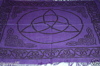 Altar Cloth, Triquetra Celtic 18x18 Celtic Border Purple & Black, Metaphysical