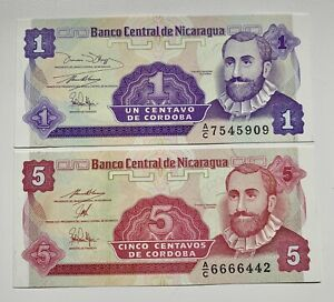 2-x-NICARAGUA-1-5-Centavos-Cordoba-1991-SC-UNC