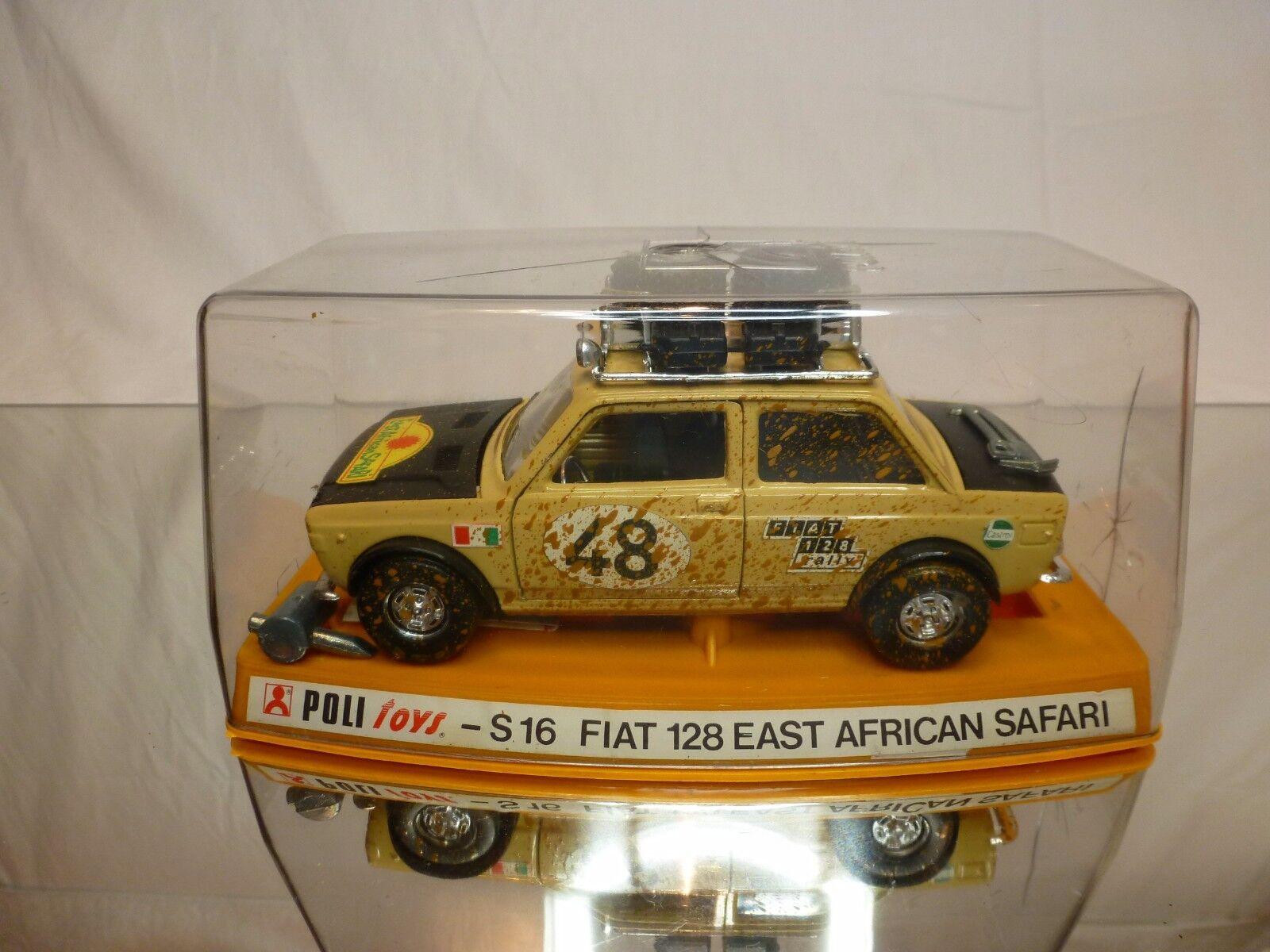 POLITOYS S16 FIAT 128  EAST AFRICAN SAFARI- SAHARA BEIGE 1 25 - EXCELLENT IN BOX  vente discount en ligne bas prix