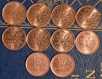 1990-1999 Penny Set ^^RED^^ A//U to UNC ~~10 coins~~  Excellent starter set