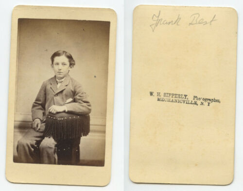 YOUNG MAN NAMED FRANK BEST, CDV BY SIPPERLY, MECHANICVILLE, NY, PHOTO INFO BACK