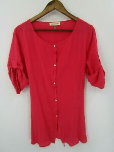 Amour-Vert-Women-039-s-Pink-Button-Front-Long-Tunic-Blouse-Top-Size-L